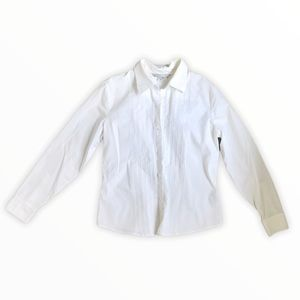 PETER NYGARD | White Button Up Long Sleeve Blouse